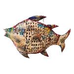 Fisch Kanu, Metall, 80x14x50 cm