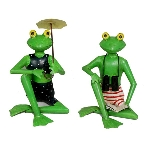 Frosch Otto und Ottilie Kanu, Metall. 21x14x45 cm