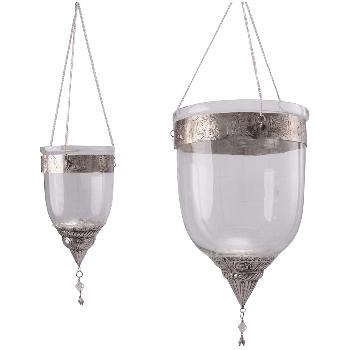 WindLichtHänger Iride, Glas/Metall, 13,5x13,5x23,5 cm