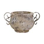 Topf Valo, creme/white, Keramik, 20x14x11 cm