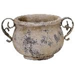 Topf Valo, creme/white, Keramik, 25x17,5x14 cm