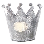 Krone Junker, weiß/zink, Metall, 10x10x8,5 cm