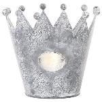 Krone Junker, white/zinc, Metall, 13x13x11 cm