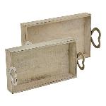 TablettSet/2 Puri, Holz/Metall, 35x20x10 cm, 40x25x12 cm