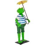 Frosch mit Schirm Kanu, Metall, 17x16x40 cm
