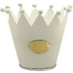 Krone Junker, weiß, Metall, 13x13x11 cm