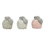 Hase Marta, rosa/mint/weiß, Keramik, 12x8x10,5 cm