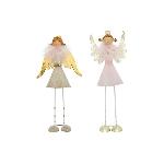 Engel Lilian, rosa/braun, Metall, 8,5x6x23 cm, 11x6x22 cm