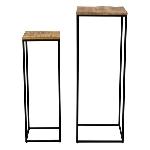 TischSet/2 Puri, Metall/Holz, 30x30x90 cm, 40x40x110 cm