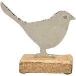 Vogel Puri, Holz/Metall, 14x15x6 cm