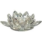 Blumenwindlicht SILEX, silber, Kristall, 14,5x14,5x5 cm