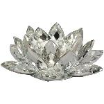 Blumenwindlicht SILEX, silber, Kristall, 21x21x7,5 cm
