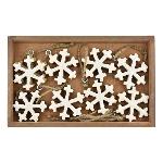 Schneeflocke 8x Dost, weiß, Holz, 5x5x1 cm