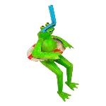 Frosch Schwimmer Kanu, Metall, 8x5x17 cm