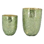 KerzenHalter VERT, grün, Glas, 15x15x21 cm