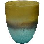WindLicht TURQOISE, gold/blau, Glas, 9x9x10 cm