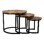 TischSet/3 Puri, Metall/Holz, 34x34x32 cm,