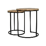 TischSet/2 Puri, Metall/Holz, 38x38x49 cm,