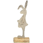 Hase Puri, Holz/Metall, 29x14x5 cm
