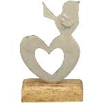 Herz Puri, Holz/Metall, 17x10x5,5 cm