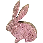 Hasen Dost, pink, Holz, Glas, 20 cm