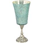WindLicht TURQOISE, türkis, Glas, 12,5x12,5x29 cm