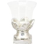 Kerzenhalter MITE, silber, Zement/Glas, 18,5x18,5x23,5 cm