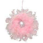 Kranz FedeR, pink, Feder/Schaum, 10 cm