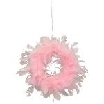 Kranz FedeR, pink, Feder/Schaum, 15 cm