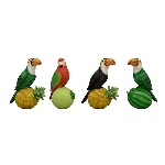 Vogel TroupeR, grün, Polyresin, 14x8x18 cm