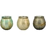 WindLicht Coloré, creme/schwarz/grün, Glas, 8,5x8,5x9,5 cm