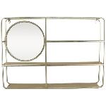 Regal mit Spiegel, silber, Metall/Glas, 72x12x50 cm
