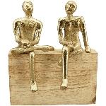 MännerSkulptur Artisanal, gold, Holz/Alu, 16x9x18 cm