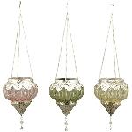 WindLichtHänger Colorê, pink/gelb/grün, Glas/Alu, 16x16x17,5 cm