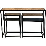 Tisch Set/3 Puri, Metall/Holz, 122x31x80 cm 60x28x65 cm,