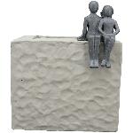 Topf Hilda, grau, Zement, 26,5x26,5x32 cm