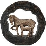 PferdeSkulptur Artisanal, Holz/Polyresin, 37x6,5x36,5 cm