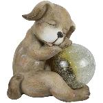 Hund mit Ball TARO, braun, Magnesia/Glas, 29x20,2x31,3 cm
