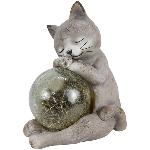 Katze mit Ball TARO, grau, Magnesia/Glas, 27,8x21,3x33,6 cm
