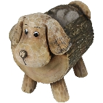 Hund Pflanztopf TARO, braun, Magnesia/Glas, 37,3x22,5x31 cm