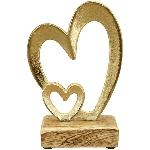 Herz Puri, Holz/Alu, 13x6,5x18 cm