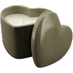 Kerze in Herzdose ikebana, grau, Porzellan/Wachs, 10,3x9,6x9,3 cm