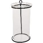 Vase Sobre, schwarz, Metall/Glas, 7x7x13 cm