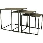 Tisch Set/3 Sobre, schwarz, Metall, 35x35x35 cm