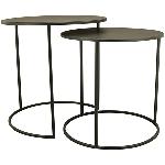 Tisch Set/2 Sobre, schwarz, Metall, 40x40x40 cm