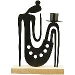 KerzenHalter Sobre, schwarz, Metall/MDF, 15x6x21 cm