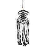 Wandhänger Deco SAMT, schwarz, Holz/Seil, 90 cm