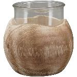 Windlicht TIMBA, natur, Holz/Glas, 16x16x12 cm