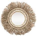 Spiegel mit Juteseil SWILL, braun, Glas/Seil/Holz, 39x39x2 cm