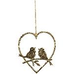 Herzhänger mit Vogel Aurum, gold, Alu, 14x17 cm